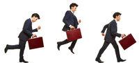 Geschäftsmann beim Laufen und Springen