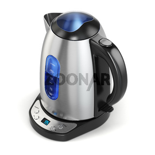 Stainless electric kettle isolated on white.
