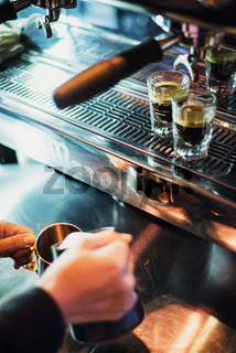 italian espresso expresso coffee making preparation with machine