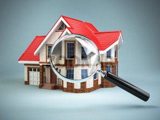 House and loupe magnifying glass. Real estate searching concept. House search and house hunting.