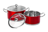 Red steel pans