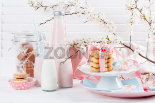 Milkshakes and sweets in pink and blue