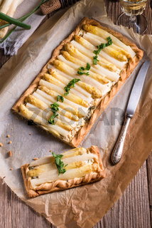 Asparagus tart with feta cheese
