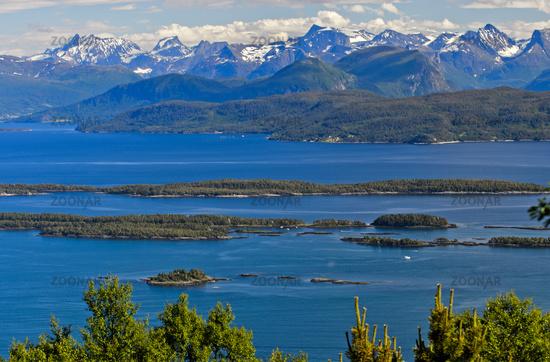 fjord landscape of the Norwegian Sea, Moldefjord near Molde, Norway