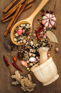 Assorted of spices  in wooden spoon  black pepper ,white pepper, black mustard,yellow mustard,fenugreek,cumin ,curry powder ,paprika and  fennel seeds on teak wood background.