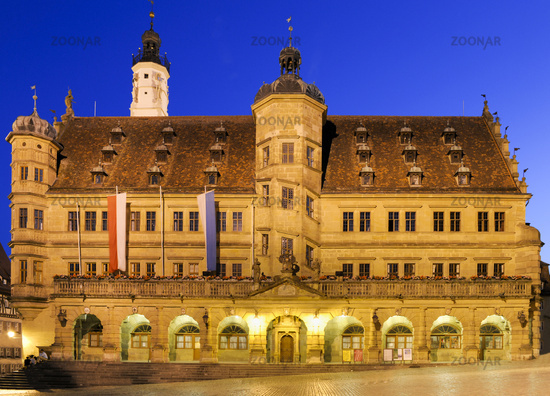 cityhall of middle ages city Rothenburg in Bavaria