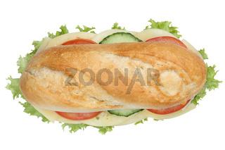 Sandwich Baguette belegt mit Käse von oben Freisteller