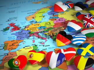 Travel EU concept. Map of Europe and hearts with flags of european countries.