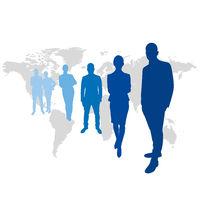Geschäftsleute Team vor Weltkarte