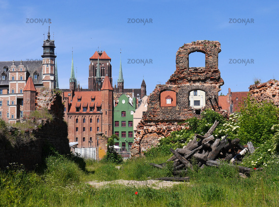Looking through a ruin of the old town in Gdansk
