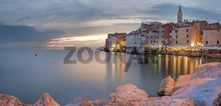 Sunset over Rovinj, Croatia.