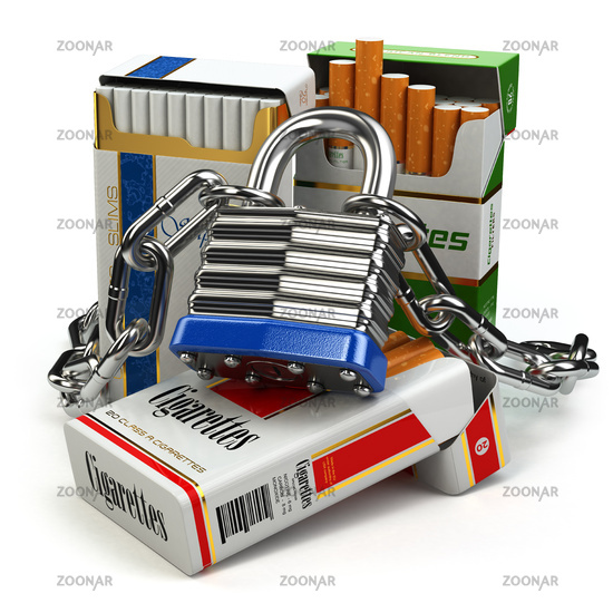 Stop smoking concept. Pack of cigarettes and lock with chain