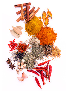 Assorted of spices black pepper ,white pepper,fenugreek,cumin ,bay leaf ,cinnamon,thyme,matrimony vine(chinese wolfberry),safflower,rosemary and fennel seeds isolated on white background.