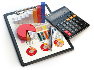 Business financial chart graph on clipboard and calculator isolated on white. Accounting, tax financial  report concept.
