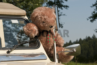 2 CV Ente mit Teddy