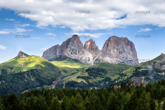 Panorama of Sassolungo mountain peaks