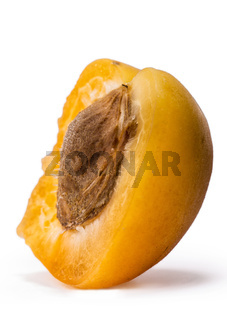Ripe apricot fruit isolated on white background