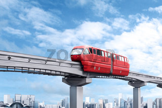 Red monorail train