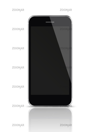 Mobile smart phone with black screen isolated on white background.