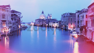 Vintage photo of Grand canal at sunset