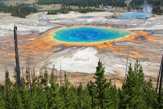 the grand prismatic at the yellowstone national park USA