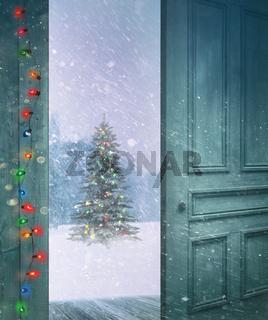 Door opening outside to a snowy winter scene