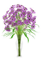purple flowers in glass vase isolated on white background. 3d illustration