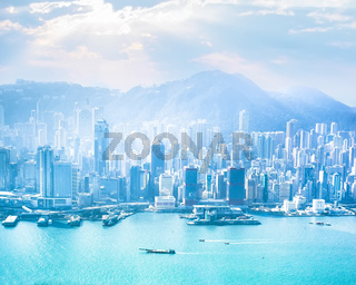 Hong Kong skyline aerial view at sunrise