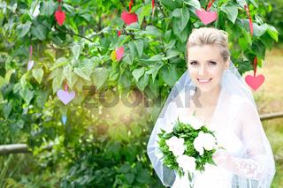 Bride blonde in nature