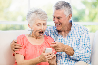 Smiling senior couple using smartphone