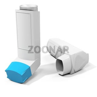 Blue medicine inhaler on white background
