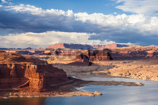 Lake Powell and Colorado River in Glen Canyon National Recreation Area during sunset