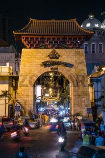 Entrance to Passer Baroe night market in Jakarta