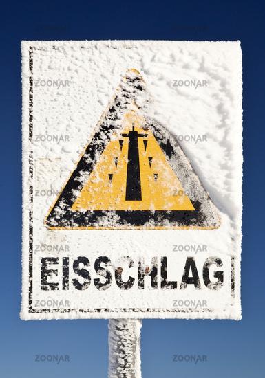 warning sign against falling ice, Germany, North Rhine-Westphalia, Sauerland