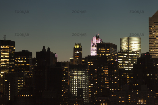 Manhattan skyline during twilight in New York City