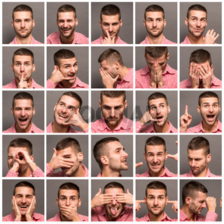 Collage of emotional man