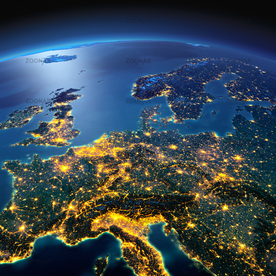 Detailed Earth. Central Europe on a moonlit night