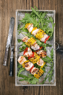 grilled chicken skewer