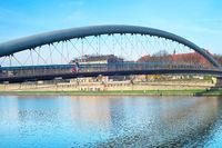 Modern footbridge, Krakow, Poland