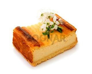Cheesecake isolated on white background.
