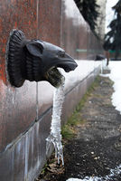 Decorative architecture detail with frozen water