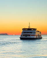 Ferry boat at sunset, Portugal