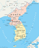 North Korea and South Korea Political Map