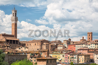 View of the historical part of the city of Siena in Tuscany - Italy