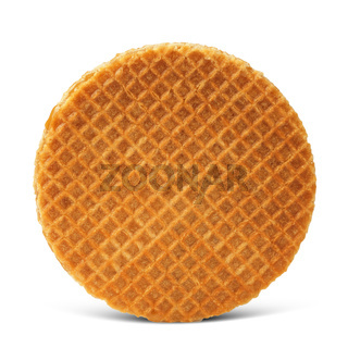 Waffle with caramel isolated on white background