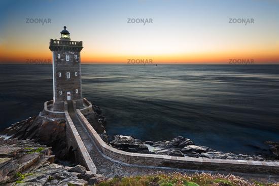 Kermorvan Lighthouse after sunset, Brittany, France