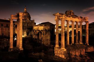 The Roman Forum, Italian Foro Romano in Rome, Italy at night.
