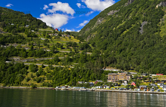 Photo Aklerkehre Road And Grande Fjord Hotel At The