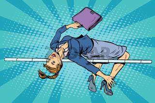 businesswoman high jump