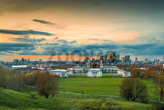 Greenwich Park view towards Canary Wharf from Observatory, London, United Kingdom